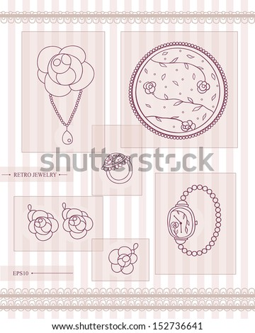 set of antique  jewelry. retro style. vector eps10 - stock vector