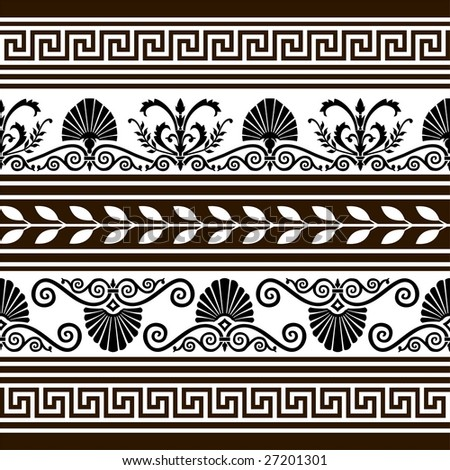 Set of  antique vector elements and borders - stock vector