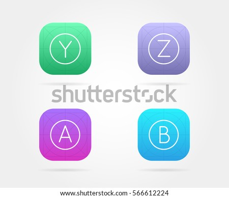 set app icon template guidelines vectorのベクター画像素材 566612224