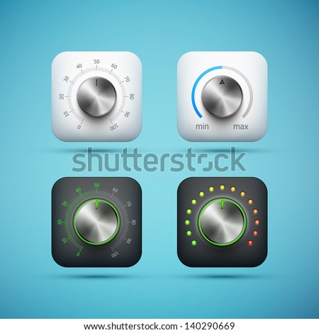 set of app icon with music volume control knob, realistic metal texture, eps10 vector illustration - stock vector