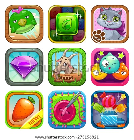 Set of app store game icons, vector illustration - stock vector