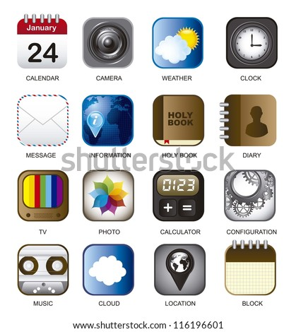 set of app vector icons over white background. illustration - stock vector