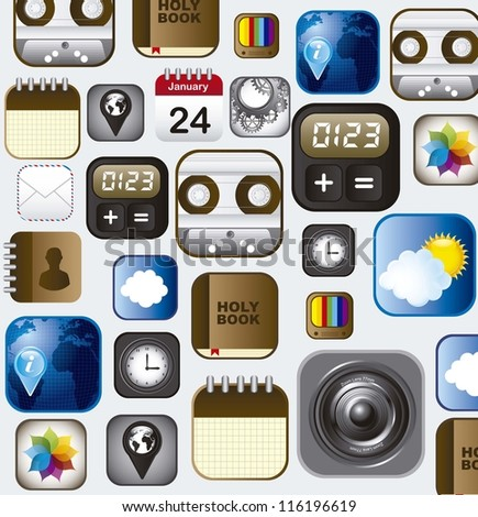 set of app vector icons over white background. vector - stock vector