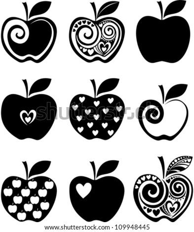 set of  apple icon isolated on white background. Vector illustration - stock vector