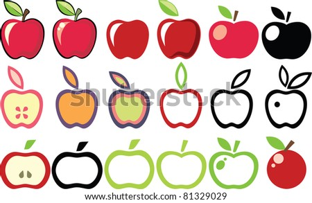 set of apple icons - stock vector