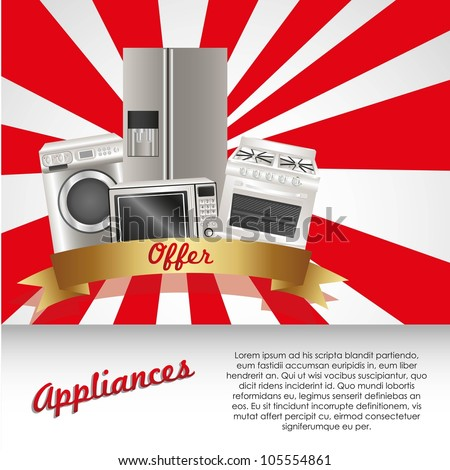 Set of Appliances, contains washing machine, stove, microwave and refrigerator, vector illustration - stock vector