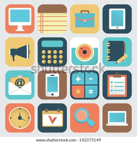 Set of application of social media. Flat icons - vector icons - stock vector