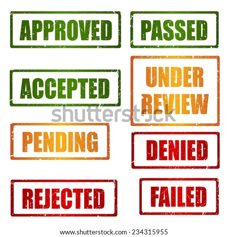 Set of approval , rejected, pending, under review grunge rubber stamps - stock vector
