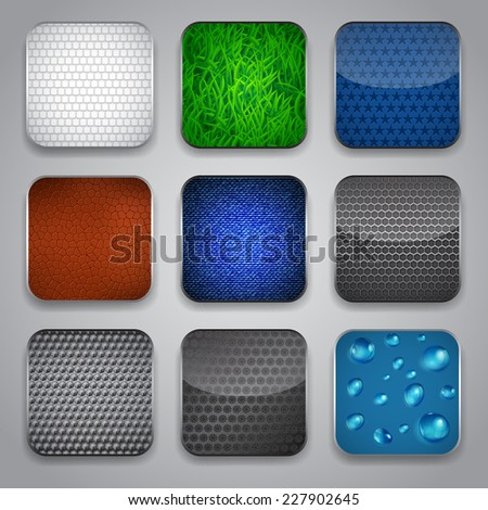 Set of apps icons with grass, drops, leather and other textures
