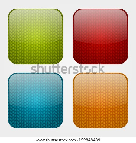 Set of apps icons with knitted pattern