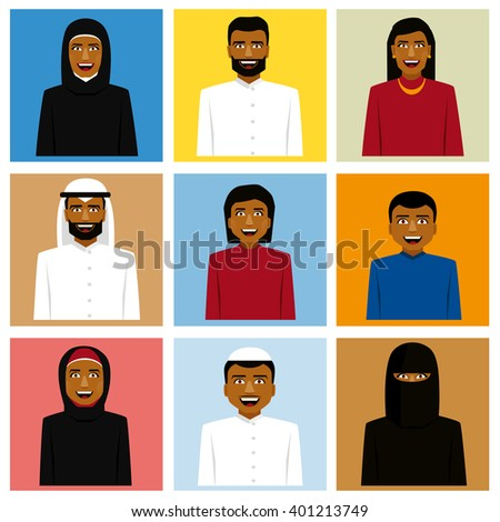 Set of arabic family icon in traditional clothing. Father, mother and children - stock vector