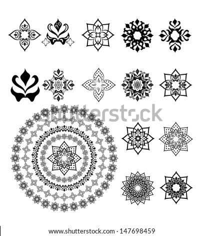 Set of arabic ornament for decoration vector - stock vector