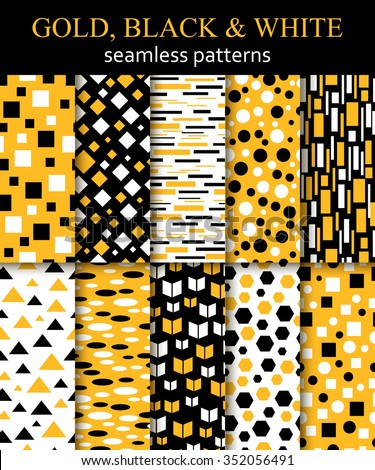 Set of Arabic Pattern. Gold, black and white seamless geometric pattern. Vector EPS 10. - stock vector