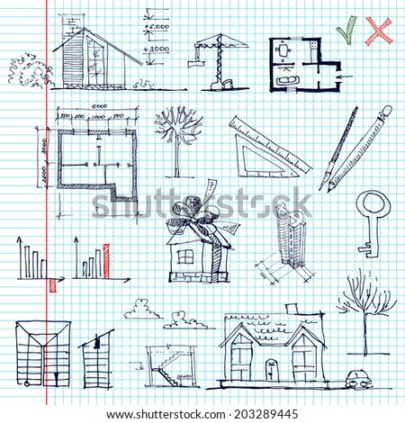 Set of architectural and business elements. Sketch. vector illustration - stock vector