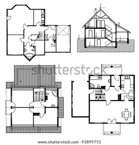 set of architectural blueprints. vector illustration