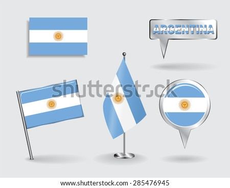 Set of Argentinean pin, icon and map pointer flags. Vector illustration. - stock vector
