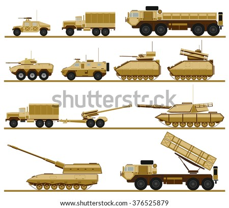 set of armed forces units. vector illustration of military vehicles - stock vector