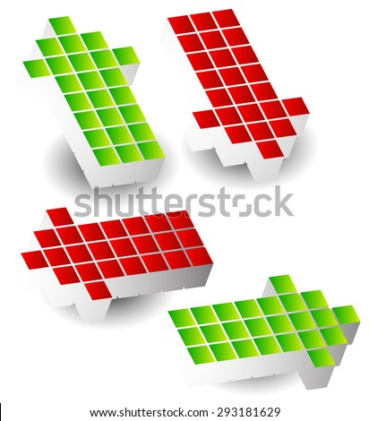 Set of 4 arrow pointing left, right, up, down. 3d arrows made of cubes, blocks. - stock vector