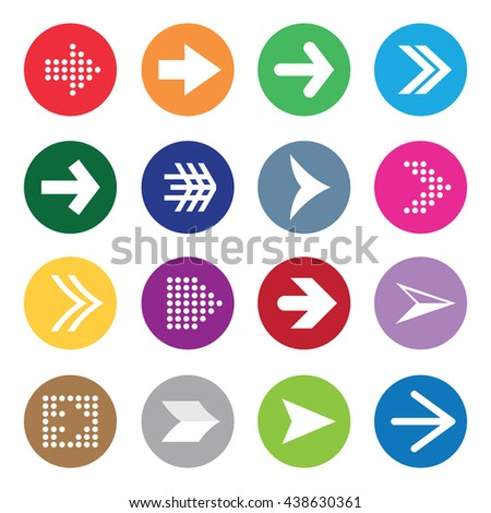 Set of arrow symbols on colour circles isolated on white background. This image is a vector illustration. - stock vector