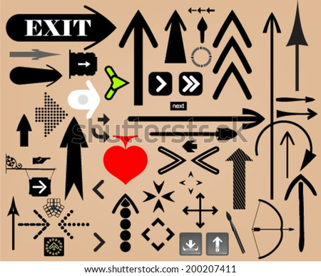Set of arrows and design elements - stock vector