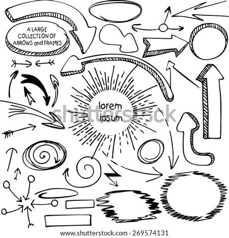 set of arrows and frames hand-drawn felt-tip pen - stock vector