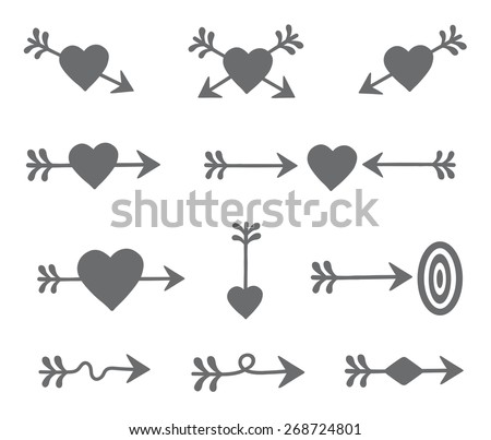 set of arrows and hearts. vector. isolated on white - stock vector