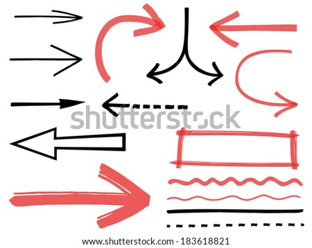 Set of arrows and lines - stock vector