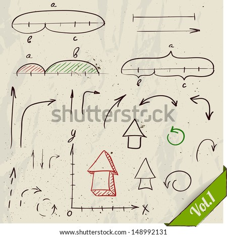Set of arrows and math elements. Vector illustration EPS8 - stock vector