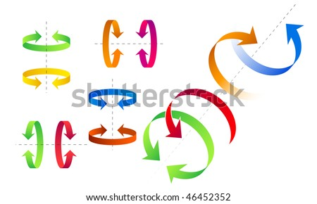 set of arrows for show direction of rotation - stock vector