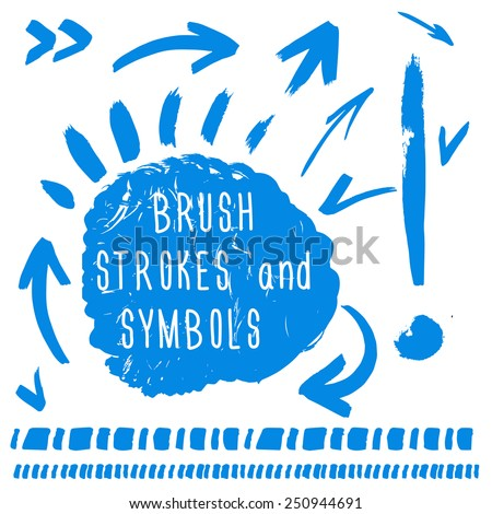 Set of arrows, symbols, stains, borders drawn by hand. - stock vector
