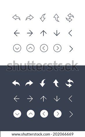 Set of arrows thin icons for web and mobile. Normal and enable state - stock vector