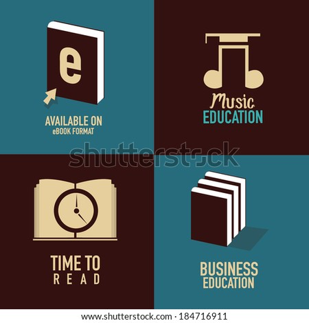 set of art and education icons. concept vector illustration  - stock vector