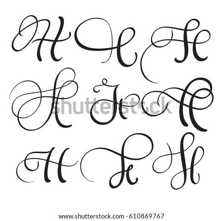 Set Art Calligraphy Letter H Flourish Stock Vector 610869767