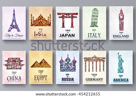 set of art ornamental travel and architecture on ethnic floral style flyers. Vector decorative card. Historical monuments of France, India, Japan, China, Egypt, Russia, England, Italy, USA, Germany