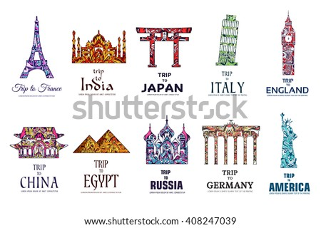 Set of art ornamental travel on ethnic floral style design. Architecture art with logo, label. Historical monuments of France, India, Japan, China, Egypt, Russia, England, Italy, USA, Germany, Mexico - stock vector