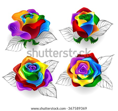 Set of art painted rainbow roses on a white background.