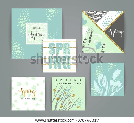Set of artistic creative spring cards. Hand Drawn and gold glitter textures. Design for poster, card, invitation, placard, brochure, flyer. Vector. - stock vector