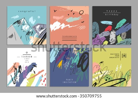 Set of artistic creative universal cards. Hand Drawn textures. Wedding, anniversary, birthday, Valentin's day, party. Design for poster, card, invitation, placard, brochure, flyer.  Vector. Isolated. - stock vector