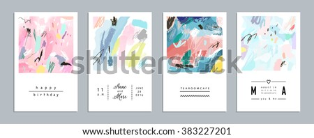 Set of artistic creative universal cards. Hand Drawn textures. Wedding, anniversary, birthday, Valentine's day, party. Design for poster, card, invitation, placard, brochure, flyer.  Vector. Isolated. - stock vector