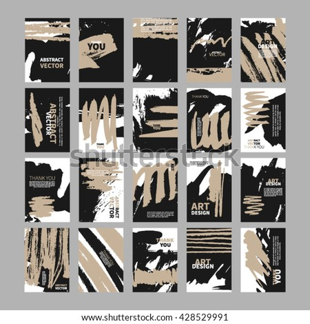 Set of artistic freehand creative universal cards. Set of creative freehand cards. Hand Drawn textures made with ink. Vector. Retro Patterns for Placards, Posters, Flyers and Banner Designs. - stock vector