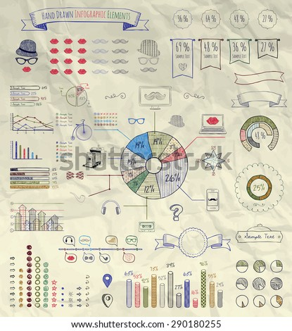 Set of Artistic Hand Sketched Doodle Design Elements, Accessories and Business  Icons of Vintage Infographics on Crumpled Paper Texture. Pen Drawing Vector Illustration. Background - stock vector