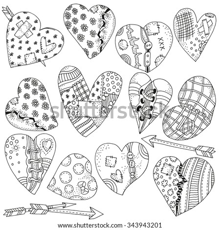Set of artistically hand drawn hearts. Valentines day background. Pattern for coloring book. Vector, doodle, zentangle, henna design elements.  Black and white. Made by trace from sketch Coloring book - stock vector