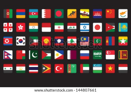 set of Asian flags icons over black - stock vector