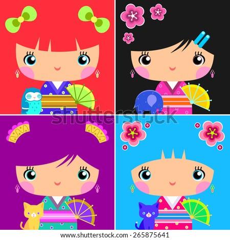 Set of Asian Kokeshi Dolls  - stock vector