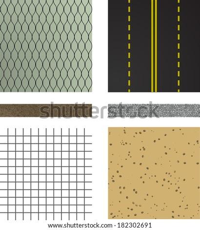 set of asphalt road textures Pavement layers  Vector illustration - stock vector