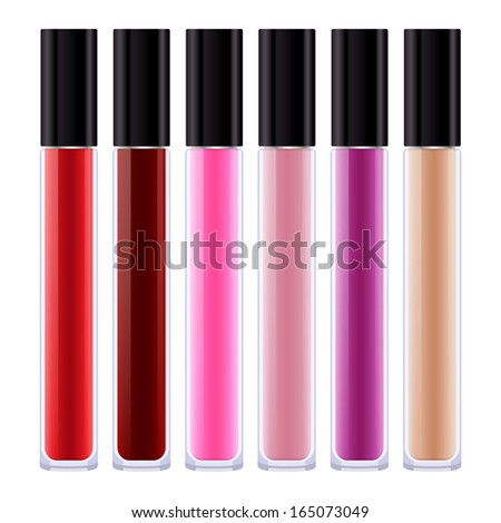 Set of assorted colorful lip gloss tubes.