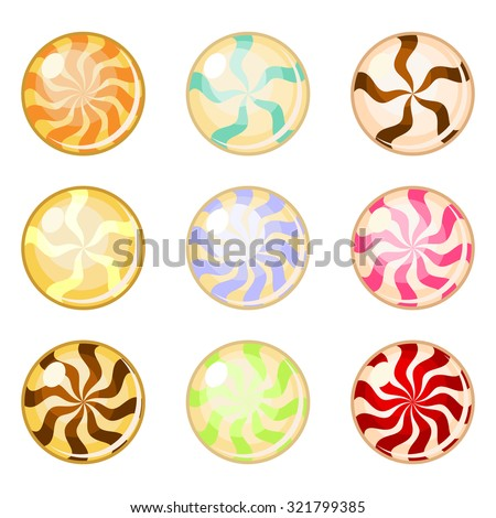 Set of assorted colorful round candies isolated over white