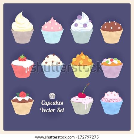 Set of assorted vector cupcakes on dark background. - stock vector