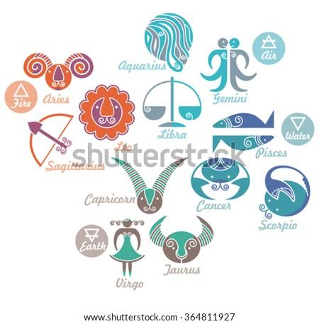 Set Astrological Zodiac Symbols Elements Fire Stock Vector Royalty