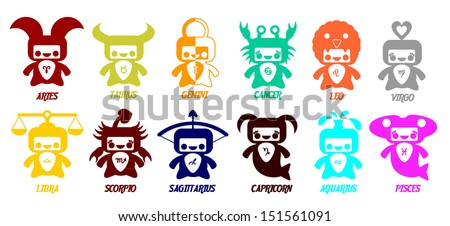 Set of astrological zodiac symbols.Horoscope signs, cute  design in different colors. - stock vector